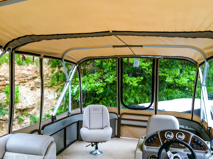 Screened panels can replace the clear windows in the enclosure for bug-free breezes in the summertime.