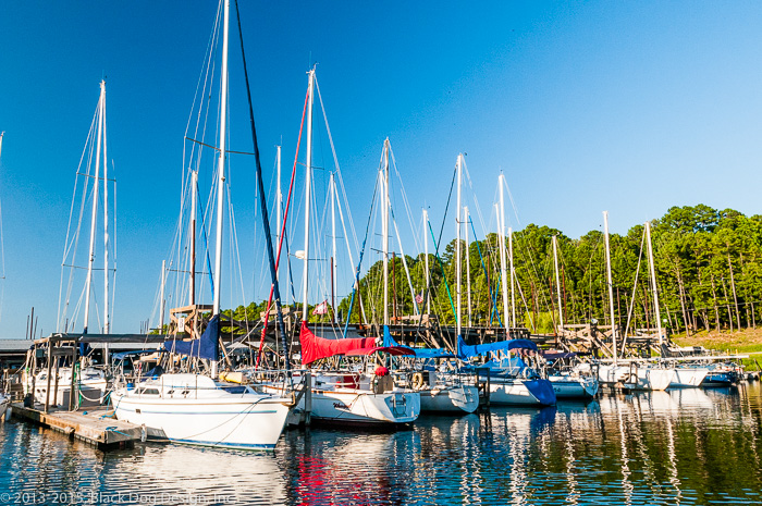 Much of Black Dog Design's work can be seen in this photograph of sailboats at Mountain Harbor.