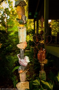 Garden totems can be built in various sizes and color schemes.