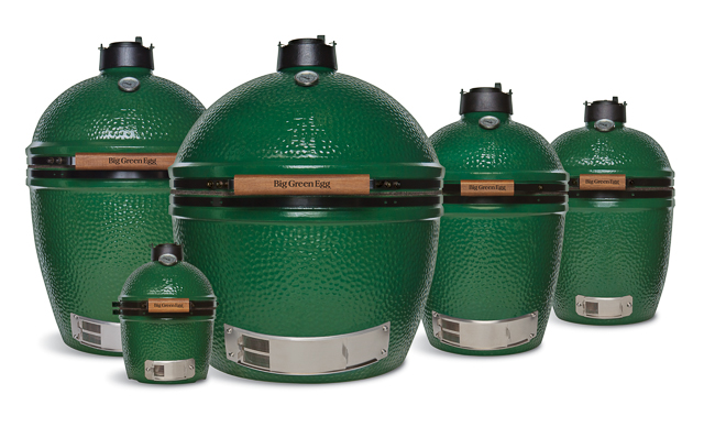 The different sizes of Big Green Egg cookers.