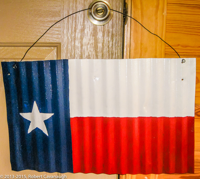 Always inventive, Robert turned this old piece of tin into a Texas flag!
