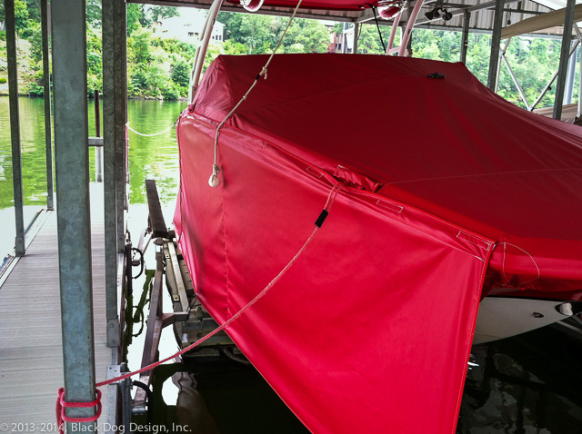 The drop skirt added on the starboard side of this Cobalt to protect it from the sun.