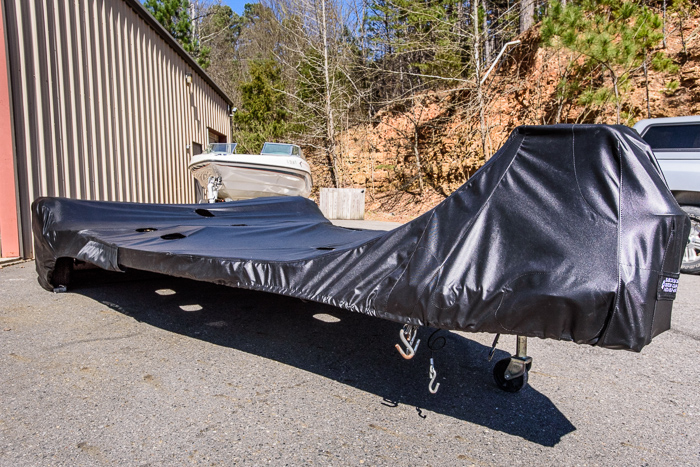 A new design in boat trailer covers from Black Dog Design.<br />(Click on this image to view more photos of the new boat trailer cover.)